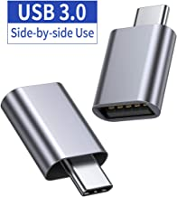 JSAUX USB-C to USB A 3.0 Adapter 2-Pack, [Side-by-Side Use] Aluminum Thunderbolt 3 Type C Adapter Compatible with MacBook Pro 2018/2017, MacBook Air 2018,Dell XPS, Galaxy S10 S9 S8 Note 9,Pixel(Grey)