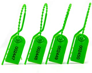 Security Pull Tight Tamper Proof Seals for Fire Extinguisher Numbered Self-Locking Tear Off Safe Tag for Shoes Bags (100pcs Green)