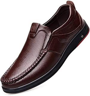 Pleasantly cool Men's Solid Color Shoes Shallow Mouth Soft Bottom Slip Openwork Casual Men's Shoes Dad Shoes Comfortable Middle-aged Leather Shoes Comfortable (Color : Brown, Size : 43 EU)