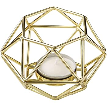 """FASHIONCRAFT 8748-2 Gold-Tone Geometric Hexagon Tealight Candle Holders, Candle Wedding Favor, Candle Centerpiece, 4"""" Candle Décor – Set of 2"""