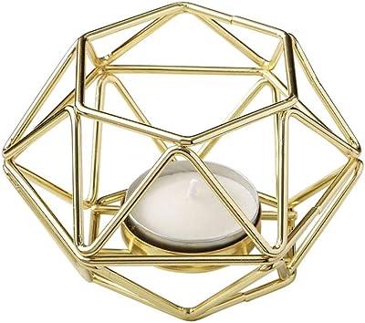 Fashioncraft, Wedding Baby Bridal Shower Party Favors, Gold hexagon shaped geometric design tea light/votive candle holder, Set of 12