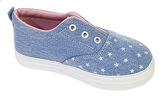 Skippy Star-Print Denim Round-Toe Pull-Tab Slip on Sneakers for Girls