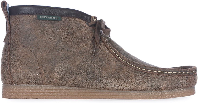 Nicholas Deakins Mens Stones 3 Light Brown Distressed Suede Boots - 7UK   8US   41EU