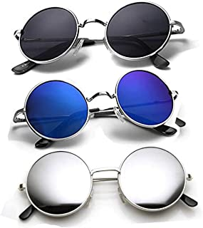 HIPPON UV Protection Round Unisex Sunglasses Pack of 3 (55| Black, Blue, Silver)