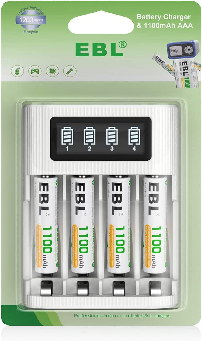 EBL 4 Pack Alternative dealer AAA Rechargeable Batteries Max 55% OFF and 1100mAh Charger I LCD