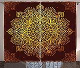 ABAKUHAUS Mandala Cortinas, Arte Oriental del Copo de Nieve, Sala de Estar Dormitorio Cortinas Ventana Set de Dos Paños, 280 x 225 cm, Amarillo Marron
