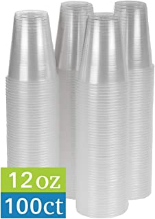 TashiBox 12 oz clear plastic cups - Disposable cold drink party cups (100)