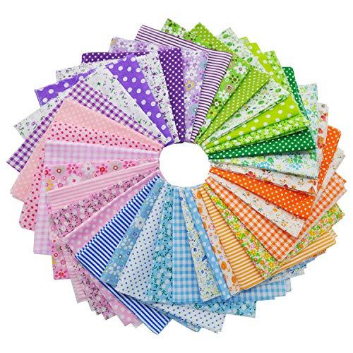 35 Stück 25 x 25 cm Baumwollstoff Patchwork Stoffe 100% Baumwolle bunte Farbsystem Meterware Stoffe DIY Stoffreste Paket Stoffpakete zum Nähen für DIY Kleidung Bettwäsche Tischdecken Scrapbooking