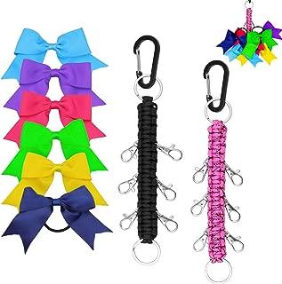 Yotako Paracord Cheer Bows Holder, 2 Pack Handmade Keychain Bow Organizer with 6 Pcs Cheer Bows Hanger for Cheerleading Girls Cheer Bow Storage Black Pink