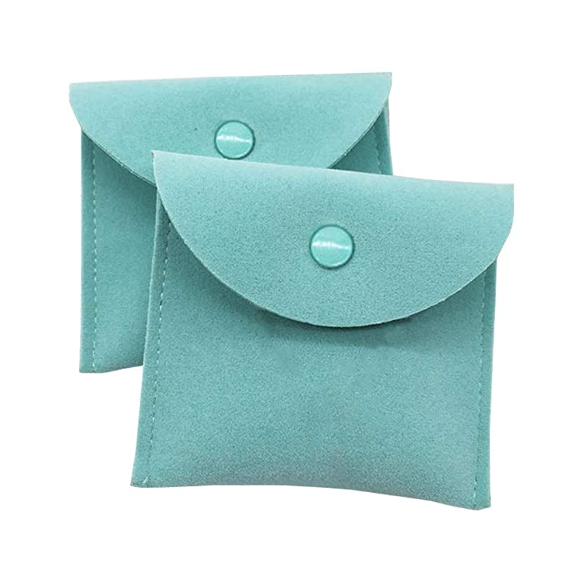 Vinerstar Pack of 2 PCS Velvet Jewelry Pouch with Snap Button for Necklaces Bracelet Rings Watch (Mint)