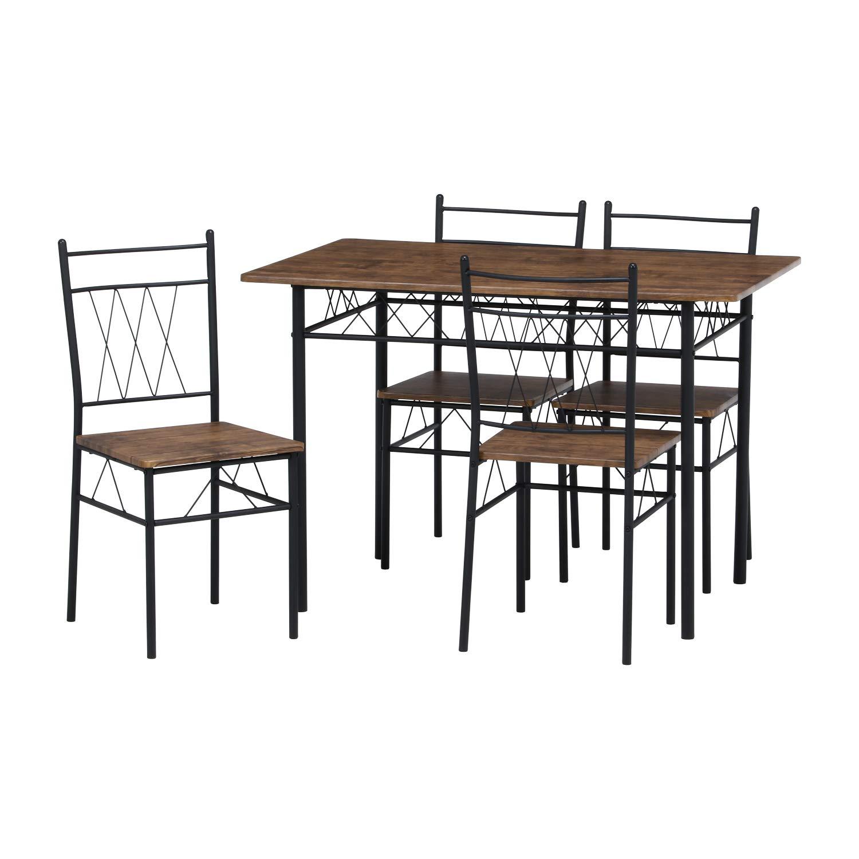 不二貿易(Fujiboeki) ダイニング5点セット ブラウン テーブル:幅110×奥行70cm フルーレ KD 98856