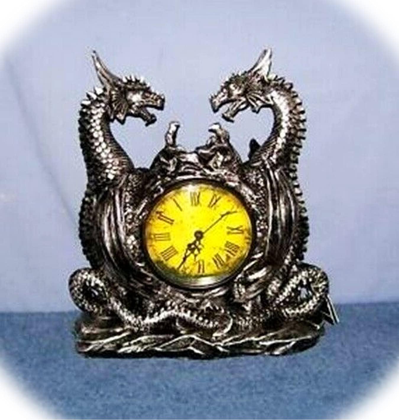 New In stock DRAGONSTAR - Twin Evil Bargain Dragons Figurine Clock A Charm Gothic