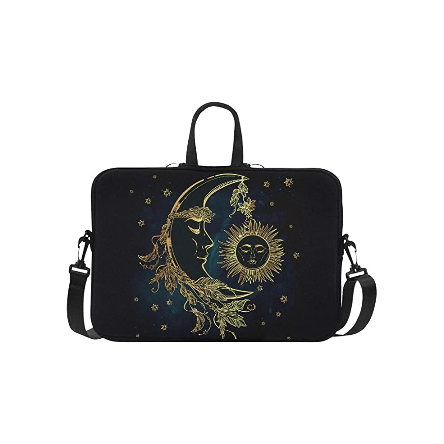 InterestPrint Moon and Sun Laptop Sleeve Case Bag, Stars Shoulder Strap Laptop Sleeve Notebook Computer Bag 15-15.6 Inch for MacBook Pro Air Dell HP Lenovo Thinkpad Acer Ultrabook