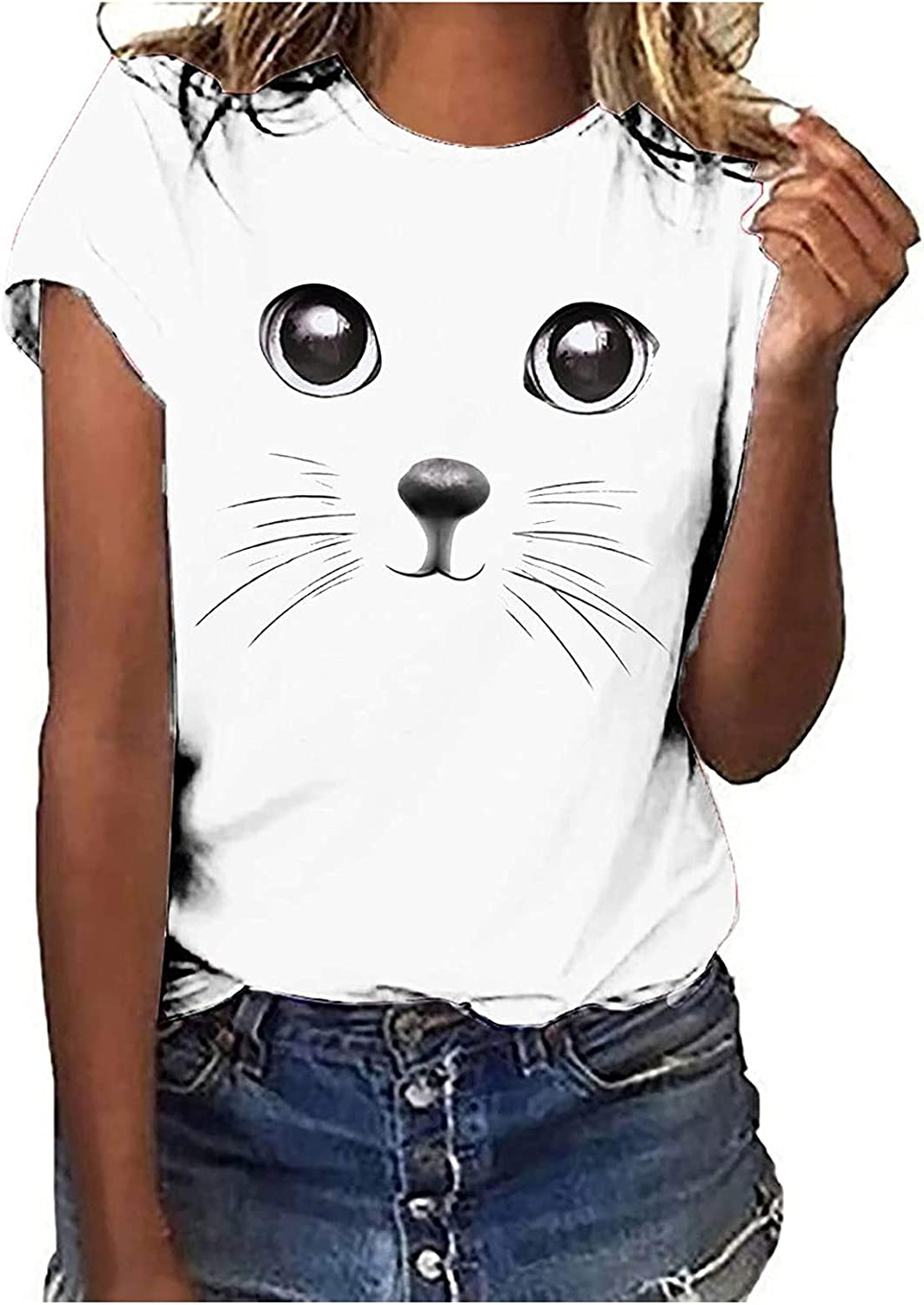 Women T-Shirts Graphic Denver Mall New product type Tees Cat Printing Pattern Cute Casual Sho