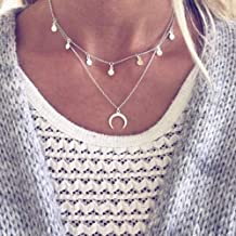 Anglacesmade Bohemian Layered Choker Necklace Disc Choker Upside Down Moon Necklace Crescent Moon Pendant Necklace Discs Tassels Choker Double Horn Necklace for Women and Girls