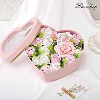 Baseshop Never Withered Artificial Rose,Handmade Soap Flower Pink White,Heart-Shaped Gift Box and Greeting Card,Present Flower Forever for Birthday Anniversary Valentine Floral
