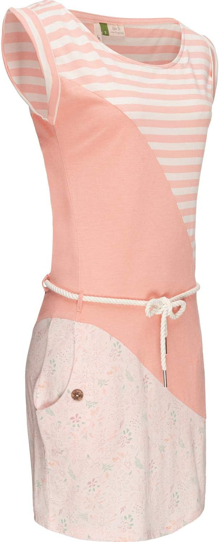 Ragwear Damen Baumwoll Jersey Kleid Sommerkleid Strandkleid Tag Stripes Organic Rosa20 Gr. S Rosa20