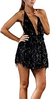 Longra Donna Elegante Vestito con Paillettes Colorato Abito da Cocktail Partito Strappy V-Collo Mini Abito da Sera Party Dress Backless Vestiti Senza Maniche