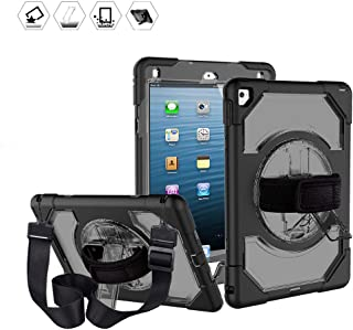 New iPad 2018/2017 9.7inch Shockproof Case, CASZONE Heavy Duty Full-Body Protective 360° Rotatable Universal Cover for Apple iPad 5th / 6th Generation with a Hand Grip/Shoulder Strap, Black