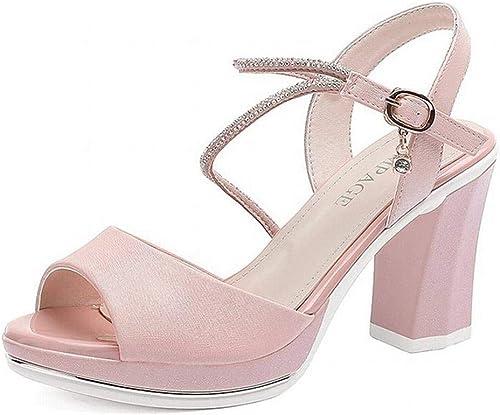 LTN Ltd - sandals Sandales à Talons épais Lanières Féeriques Vent été Rome Chaussures à Talons Hauts Chaussures D'été, Rose, 34