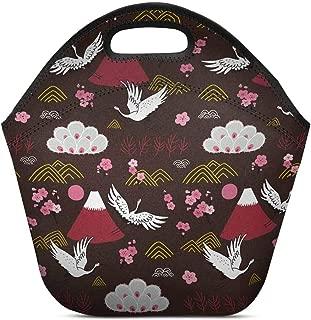 InterestPrint Neoprene Lunch Bag Japanese Flying Birds Cranes Insulated Lunchbox Handbag