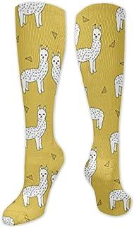 Jessicaie Shop, Calcetines de compresión amarillo mostaza de llama Medias para correr