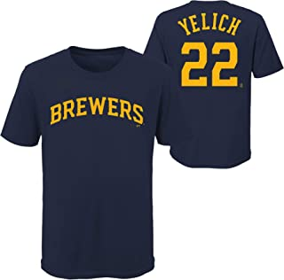 Christian Yelich Milwaukee Brewers MLB Youth 8-20 Player Name and Number Navy T-Shirt Youth Sizing