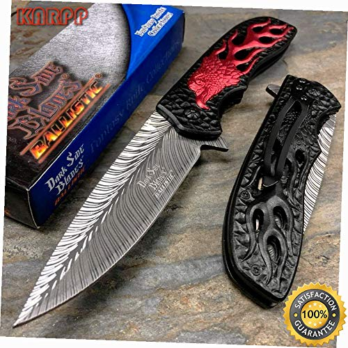 Spring Assisted Red Black Eagle Collection Fantasy Pocket Knife - Outdoor Camping perfect For Hunting EDC EMT