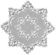 (أبيض) – سطح طاولة مستديرة من الدانتيل باللون الأبيض مقاس 110 سم من هيرتج