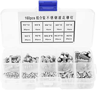 M2/M3/M4/M5 Solid Rivets, Walfront 160pcs M2-M5 Stainless Steel Round Head Knurled Shank Solid Rivets Assortment Set with Plastic Box Marked Clearly