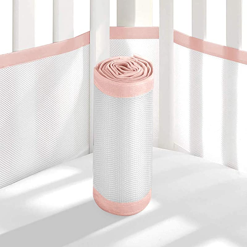 Tonquu Baby Crib Bumper Pads For Standard Cribs Machine Lightweight Washable Safe Hypoallergenic Breathable Baby Mesh Crib Liner Pink