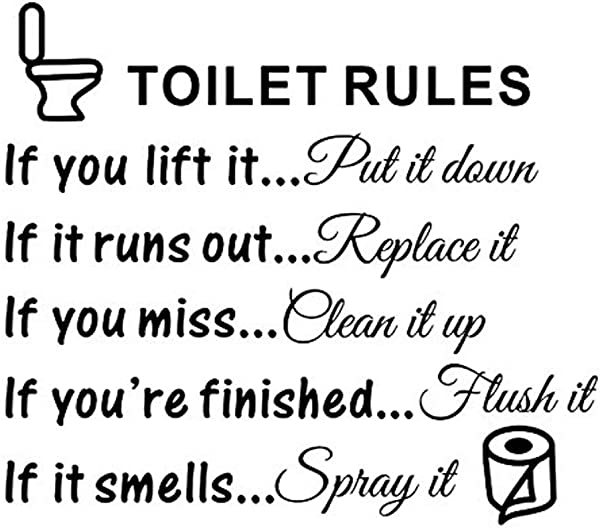 Andy CoolWall Sticker Toilet Rules Bathroom Removable Vinyl Art Decals Diy Home Decor Funny