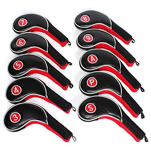 12Stück Golf Eisen Putter Head Covers Schlägerhaube Set schwarz & rot fit alle Marken Titleist, Callaway, Ping, Taylormade, Cobra, Nike, etc..