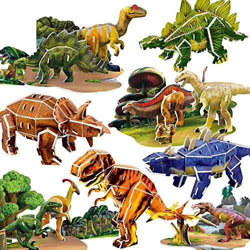 8 x Dinosaurio Puzzles 3D para niños, DIY Tirano saurio Rex Modelo de Rompecabezas Dinosaurio Juguete de Rompecabezas de Papel Construido por ti Mismo Educativo Regalo de cumpleaños para niños niñas