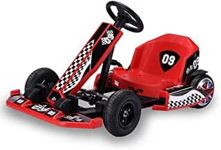TOUNTLETS Go Kart, 4 Wheel Powered Ride On Toy, Outdoor Racer Pedal Car with Clutch, Brake, EVA Tires, Adjustable Seat Children Kart with Flashing