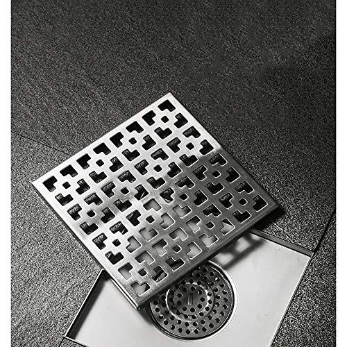 Quadratische Bodenablauf Edelstahl Anti Geruch,Bad Abfall Tor Dusche Abtropffläche,Ablaufrinne mit Siphon,Duschablauf Bodenablauf in Edelstahl,Silver-15×15cm