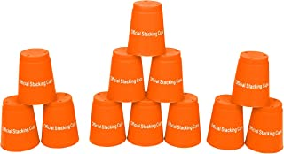 "Trademark Innovations Large 3.5"" x 4.4"" Tall Quick Stack Cups - Speed Training Sports Stacking Cups - Set of 12 (Orange)"