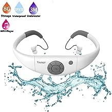 Tayogo 8GB Waterproof MP3 Player, IPX8 Swimming Waterproof Headphones Work for 6-8 Hours Underwater 3 Meters with Shuffle Feature - White
