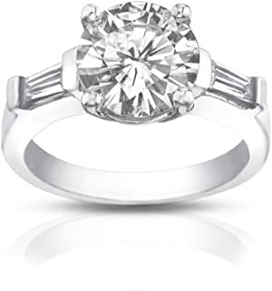 Madina Jewelry 1.10 ct Ladies Round/Bagutte Cut Diamond Engagement Ring Platinum