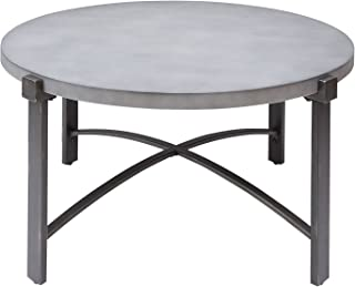 Silverwood FT1276-COF-RCC Lewis Coffee Table with Round Concrete Finish Top, 37