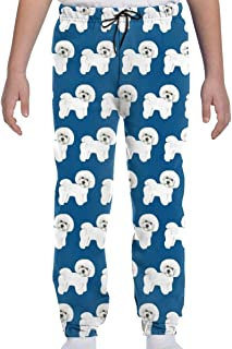 Adolescentes Niños Niñas Pantalones Deportivos Jogging Pantalones Deportivos o Loungewear de Fondo, Azul Bichon