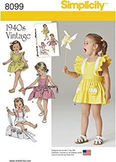 Simplicity 8099 Vintage Toddler Romper and Skirt Sewing Pattern, Sizes 1/2-4