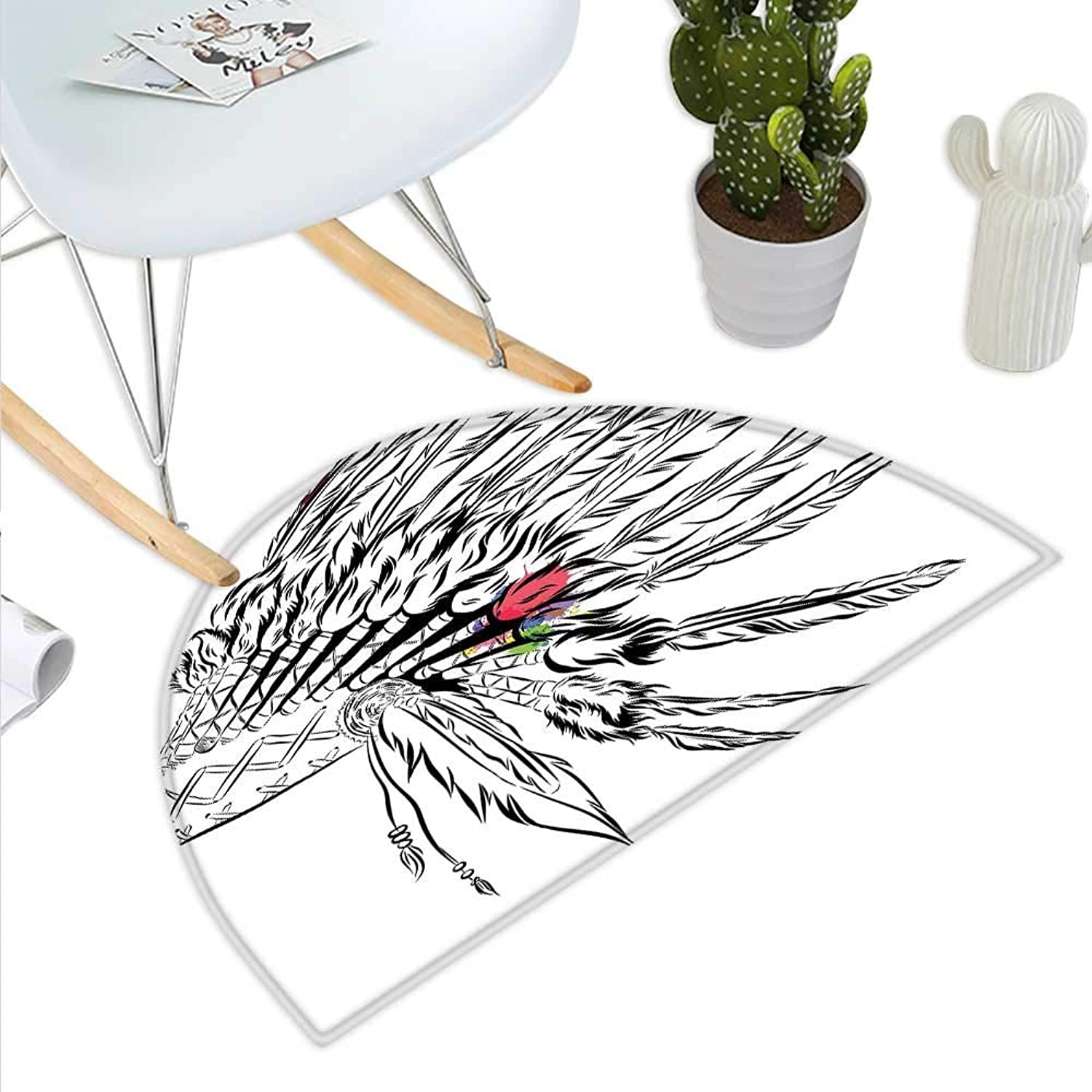 Feather Semicircle Doormat Native American Headdress in Sketch Style with color Splashes Primitive Halfmoon doormats H 35.4  xD 53.1  Black White Multicolor