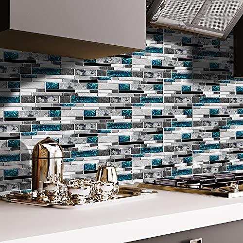 LUOWAN Pegatinas para azulejos de pared en blanco y negro, para decoración de baño, cocina (043, 27 unidades)