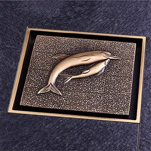 """DYR Antike Messing dekorative Abflussabdeckungen Duschbodenablauf 100mmX100mm Delphinform 4""""Duschabfluss"""