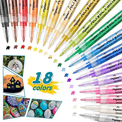 Acrylstifte Marker Stifte,0.7mm Feine Spitze,18 Farben Acrylstifte Wasserfest Permanent Paint Markers,Kinder DIY Stift Art für Stein, Rock-Malerei, Keramik, Porzellan, Metall, Kunststoff. (18 Farben)