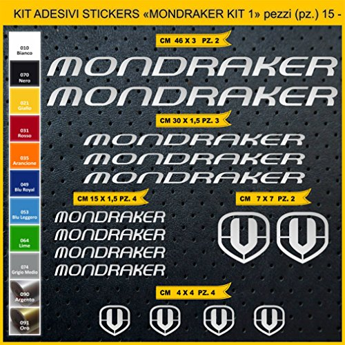 Pimastickerslab Aufkleber Fahrrad MONDRAKER_ KIT1 Kit Aufkleber Stickers 15 Stück – bici Bike Cycle wählbar Cod.0881 (090 ARGENTO)