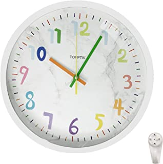 Lesirit Kids Battery Operated Wall Clock 12 inch Cartoon Silent Quartz Decorative Non-Ticking Classic Digital Clock Decor ...