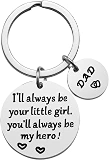 Father's Day Gift - Dad Gift from Daughter for Birthday, I'll Always Be Your Little Girl, You Will Always Be My Hero Keychain