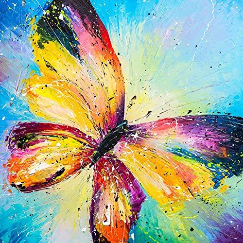 Sugamm 5D Diamond Painting Color Mariposa Kit Completo, Bricolaje Punto De Cruz Diamante Pintura Animal Insecto Kit Decoración De La Pared De La Del Dormitorio De Las Manualidades 35x35cm